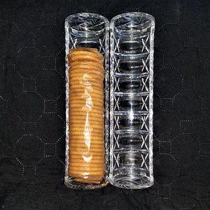 Set Of Two Crystal Ritz Cracker Tray Holder Server
